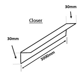 C1/30/3M/PPC - 30mm x 30mm Closer, 3 Metre Length, comes with 1 bend at 90° (as drawing) - PPC Finish