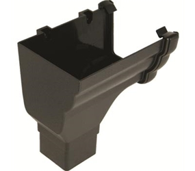 RON2 -  UPVC 'Cast Iron Style' Niagara Ogee LH Stopend Outlet c/w 65mm Square Outlet