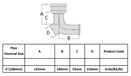 SL40/BA/92 - 4'' (100mm) LCC Soil Pipe 92° Access Bend